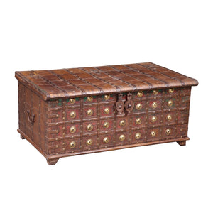 Antique Indian Teak and Brass Storage Chest