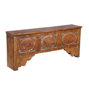 Teak wood console table made from an antique architectural carved door, India