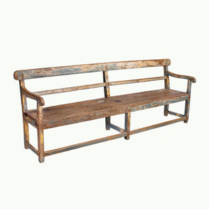 Antique Indian teak wood long garden bench