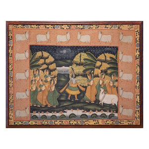 Antique Indian Pichwai painting on textile