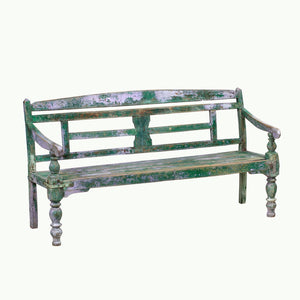 Vintage Anglo-Indian painted teak wood garden bench