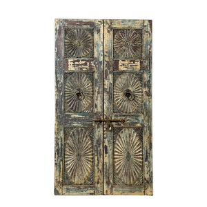 Antique Indian teak wood pair of interior doors from a Rajasthan Haveli