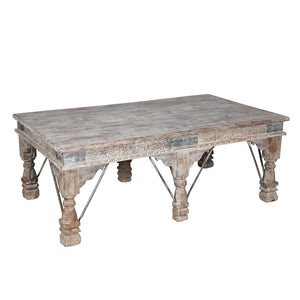 Coffee table constructed from antique Indian architectural components