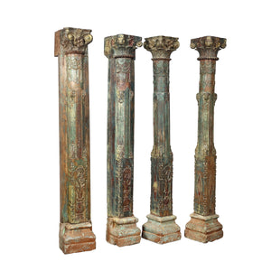 A Pair of Antique Indian painted teak wood columns from a Rajasthan haveli
