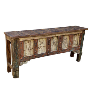 Indian Carved Console Table, constructed from antique components and reclaimed wood