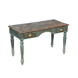 Antique Anglo-Indian teak wood writing table with traces of blue paint