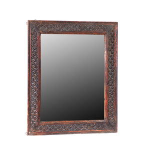 Vintage Indian Carved Teak Frame with Mirror #4