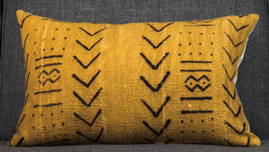 Vintage Mali mud cloth pillow - gold single sided