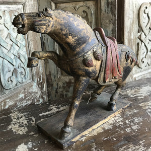 Vintage Chinese carved, gilt, and polychrome wood horse