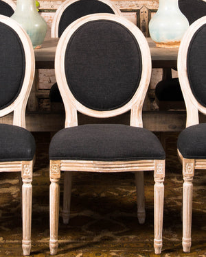 Set of 2 Black Linen Medallion Back Dining Chairs