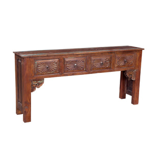 Indian Teakwood Console Table with Drawers