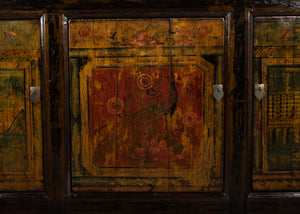 Antique Chinese Lacquered Elm Cabinet