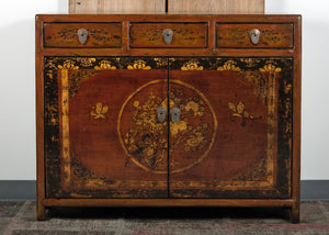Chinese Lacquered Elm Hall Cabinet