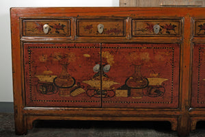 Chinese Lacquered Elm 4 Door Cabinet