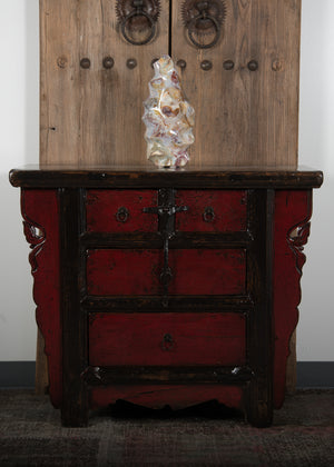 Antique Chinese Lacquered Elm Chest of Drawers