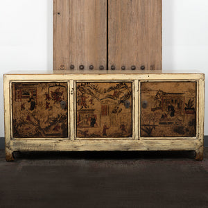 Chinese Lacquered and Painted Pine Low 3 Door Cabinet