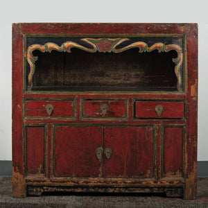 Antique Chinese Elm Scholar Cabinet 36 x 17 x 35