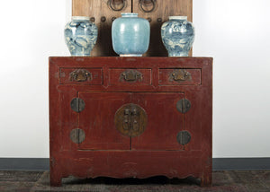 Antique Chinese Lacquered Elm Hall Cabinet with 3 drawers