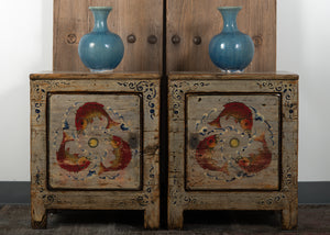 Antique Chinese Painted Pine Small Cabinet / Nightstand