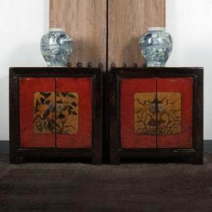 Chinese Lacquered Elm Small Cabinet or Nightstand