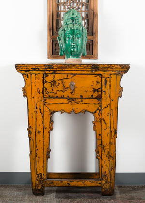 Antique Chinese Lacquered Elm Hall Table