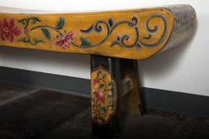 Vintage Chinese polychromed bench