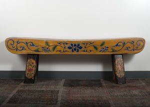 Vintage Chinese polychromed bench 59 x 13 x 20