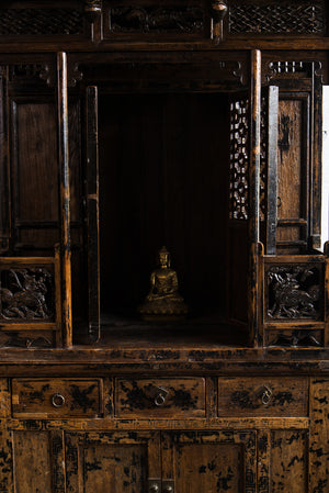 Antique Chinese Elm Buddha Cabinet