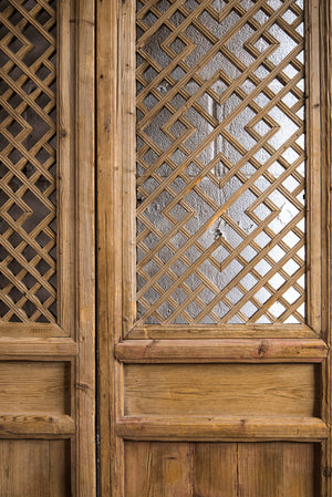 Antique Chinese Pine Gansu Screen Door