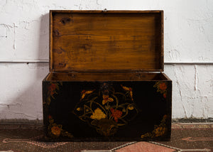 Antique Chinese Painted Elm Marriage Chest