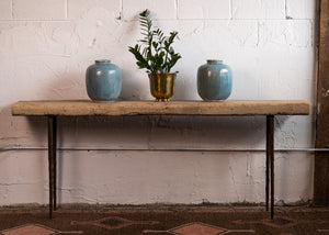 Rustic console table made with a Reclaimed Pine Slab top