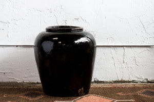 Near Pair of Vintage Chinese Glazed Black Ceramic Pots