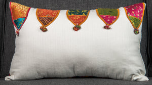 "Vintage Indian Textile made into pillow - 24"" x 15"""