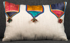 "Vintage Indian Textile made into pillow 20"" x 13"""