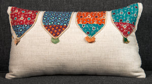 "Vintage Indian Textile made into pillow 17"" x 9.5"""