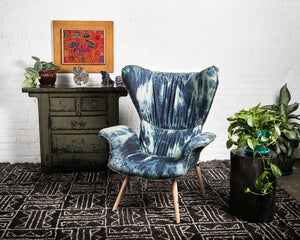 "Mid-century style ""Papa"" chair with pleated back in tie dye indigo cotton"
