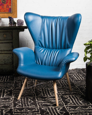 "Mid-century style ""Papa"" chair with pleated back in BLUE vegan leather 389"