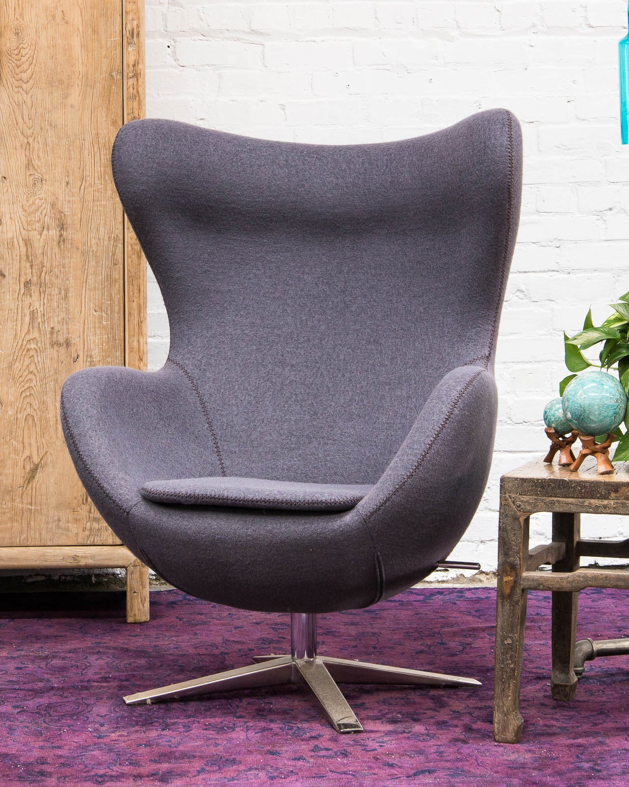 Mid Century Style Egg Chair, Covered In Gray Wool
