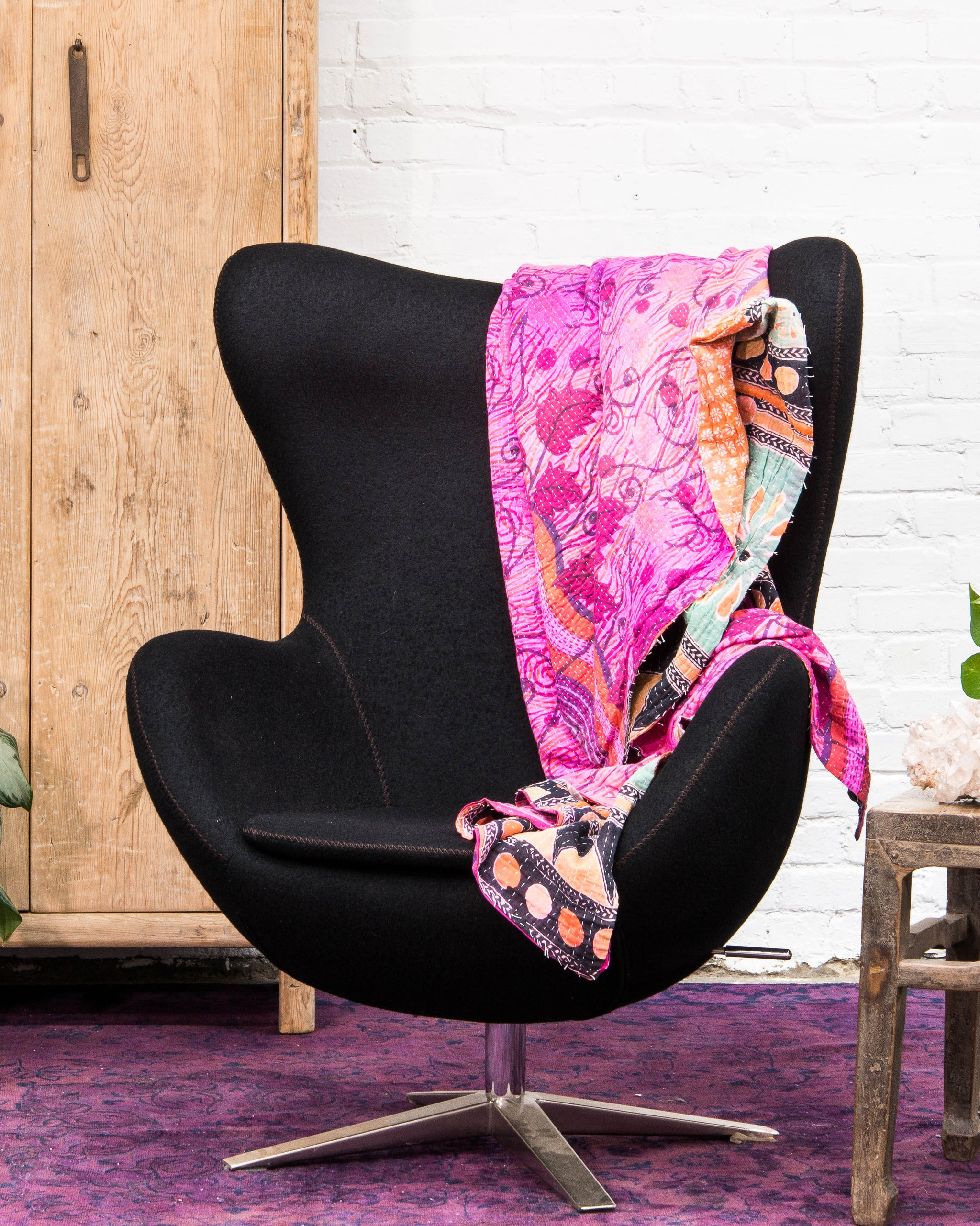 Mid Century Style Egg Chair, Covered In Black Wool