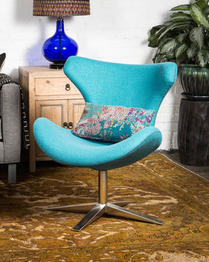 "Mid-century style ""Capri"" chair, covered in teal wool"