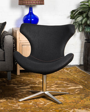 "Mid-century style ""Capri"" chair, covered in black wool"