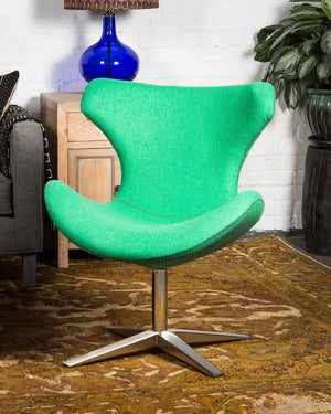 "Mid-century style ""Capri"" chair, covered in lime green wool"