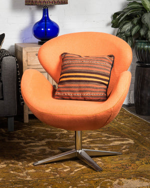 "Mid-century style ""swan"" chair, covered in orange wool"