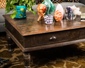 Antique Indian teak work table, converted to a coffee table on turned legs