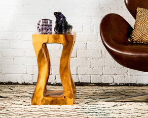 Live edge monkey pod wood side table/stool