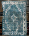 "Vintage Turkish blue over dye rug, 9'4"" x 12'10"""