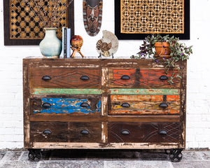 Indian reclaimed teak industrial style chest