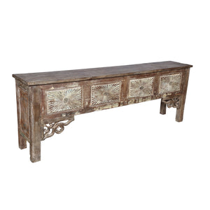 Indian teak console table, made from antique architectural components