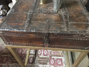 Antique Indian Small Carved Teak Box on iron stand