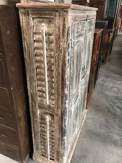 Indian armoire made from antique painted doors and shutters